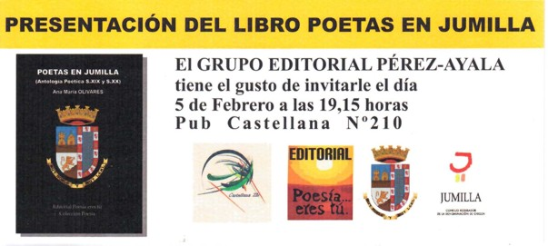 Presentación: Poetas en Jumilla - 5 de Febrero a las 19,15 Castellana 210 - PoetasenJumillaMadrid - Presentación: Poetas en Jumilla – 5 de Febrero a las 19,15 Castellana 210