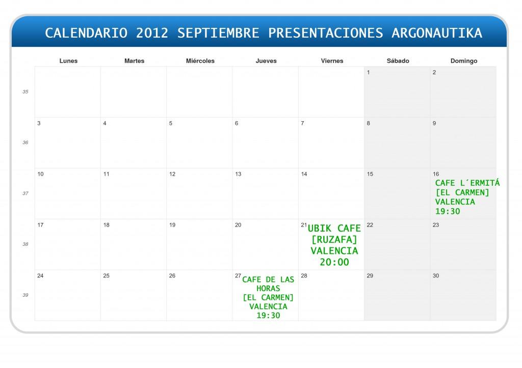 CALENDARIO PRESENTACIONES ARGONAUTIKA CALENDARIO PRESENTACIONES ARGONAUTIKA ARGONAUTIKA PRESENTACIONES SEPTIEMBRE 2012 1024x723