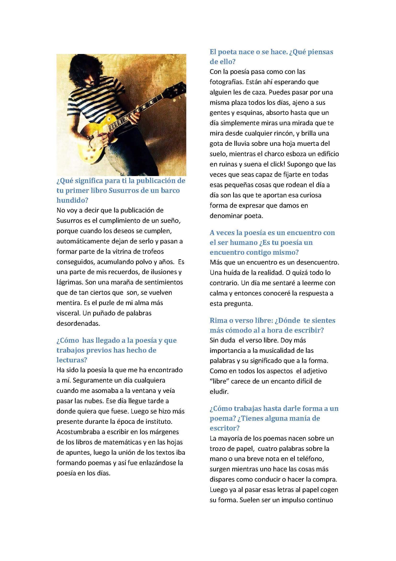 """Entrevista editorial_Página_1 Poesía, entrevista - Entrevista editorial P  gina 1 - Ángel García García: """" Ha sido la poesía la que me ha encontrado a mí""""."""