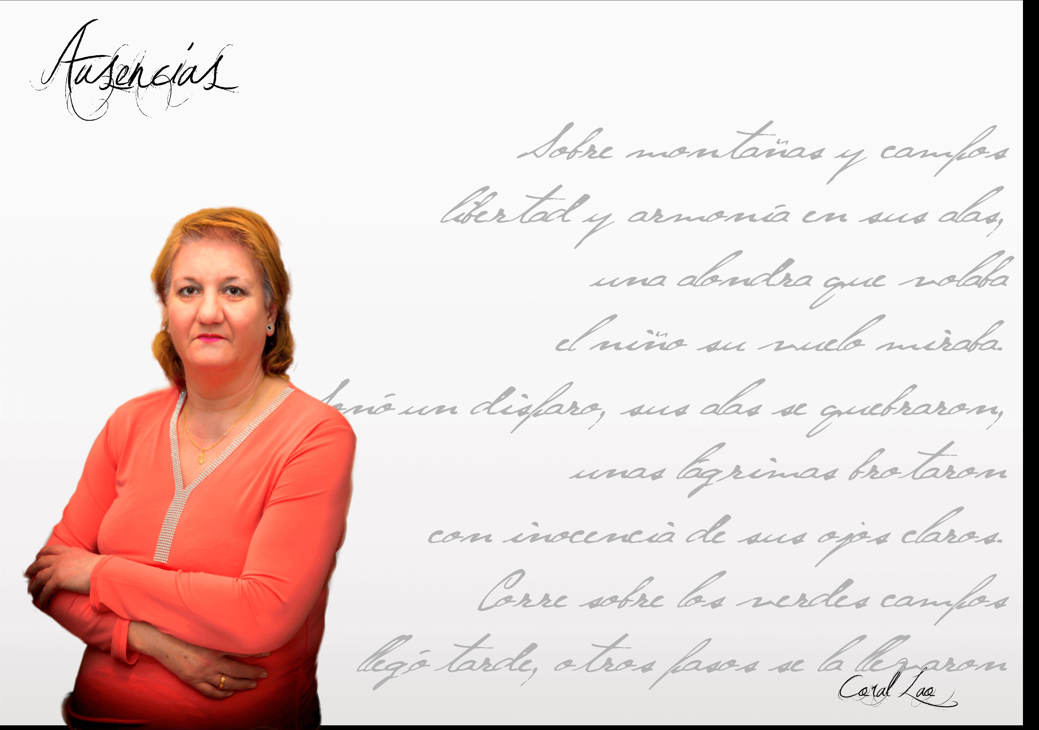 """Coral Lao Coral Lao: """"Para mí la poesía sí que es un encuentro conmigo misma…"""" Fichaautor"""
