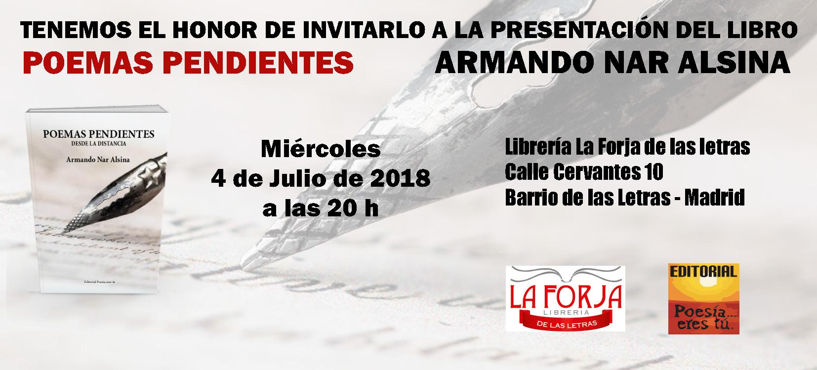 Invitación Poemas pendientes  Poemas pendientes: Miercoles 4 de Julio de 2018. Librería La forja de las letras. Invitacion210x95