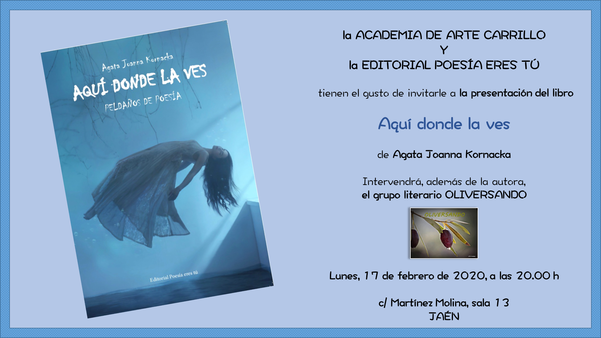 - invitacio  n 002 - Agata Joanna Kornacka presenta Aquí donde la ves en Jaén.